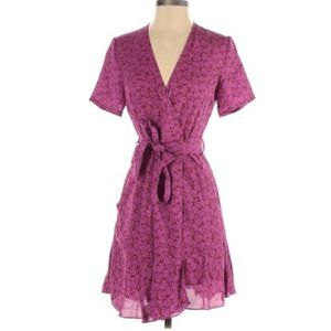 A.L.C. Micah Pink Silk Belted Floral Wrap Dress
